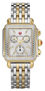 Michele Silver Gold Bracelet Mother of Pearl Diamond Dial Deco MWW06P000108