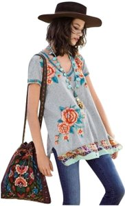 Johnny Was Bold Embroidery Silk Trim Relaxed Fit Drapey V Neck Tunic