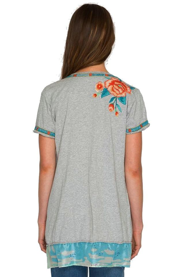 411af4d8655 Johnny Was Gray Silk Trim Embroidered Tunic Size 6 (S) - Tradesy