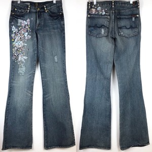 Zac Posen Distressed Floral Embroidered Machine Washable Boot Cut Jeans