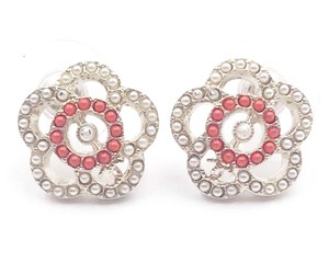 Chanel Chanel Gold Camellia Red Bead Faux Pearl Small Piercing Earrings
