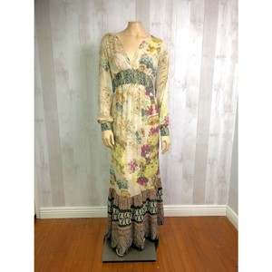Multicolor Maxi Dress by Sundance Floral Paisley Long Sleeve Boho Hippie