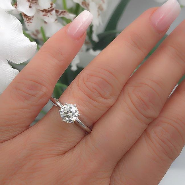 Item - H Si2 Round 1.00 Cts 14k White Gold Engagement Ring