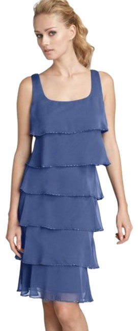 Item - Navy Nordstrom Chiffon Tiered Beaded Mid-length Cocktail Dress Size 10 (M)
