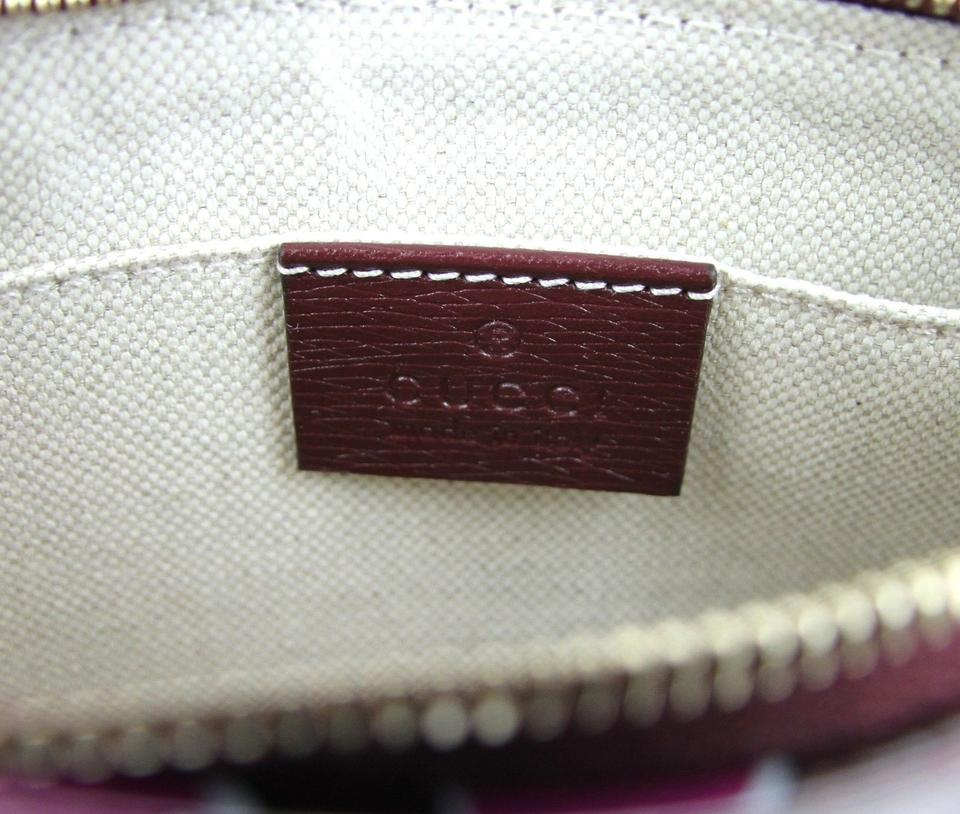 03a017909 Gucci Heartbeat Pouch W/Bamboo Detail 338816 Burgundy 5009 Leather ...