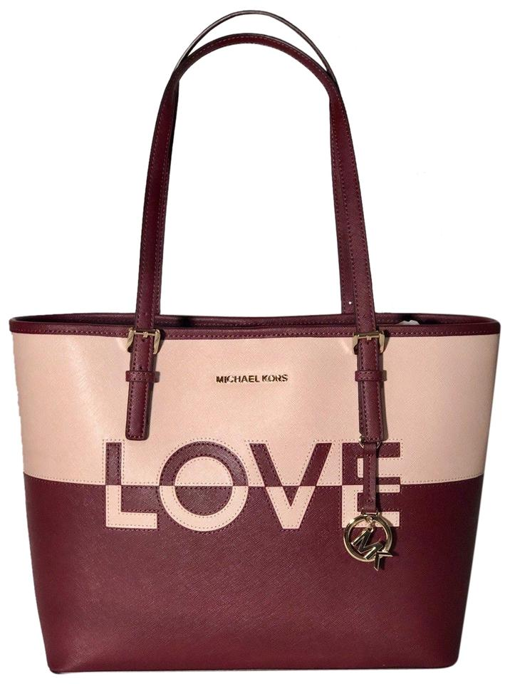 9ffc03ad7ffb Michael Kors Jet Set Travel Medium Carryall Multicolor Pink Red Saffiano  Leather Tote