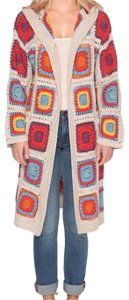 Johnny Was Attached Hood Long Sleeves Open Front Patch Pockets Unlined Cardigan