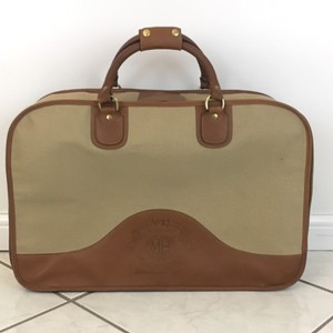 Ghurka Brown Leather and Tan Canvas Travel Bag