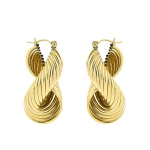 Avital & Co Jewelry 10K Yellow Gold Infinity Modern Twisted Dangle Hoop Earrings 13.8gram