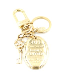 Louis Vuitton RARE LV monogram flower key gold key charms ring chain