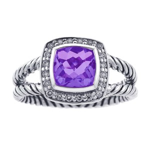 David Yurman Petite Albion Purple Amethyst and Diamonds Ring
