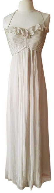 Item - Gray / Champagne Beige Silk Chiffon Bridesmaid S Long Formal Dress Size 4 (S)