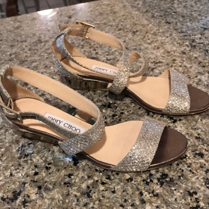 Jimmy Choo gold/silver glitter, gold wedge heel Formal