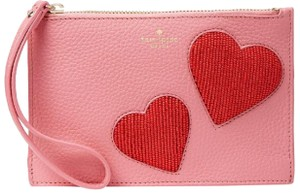 Kate Spade Heart Leather Hearts Wristlet in pink