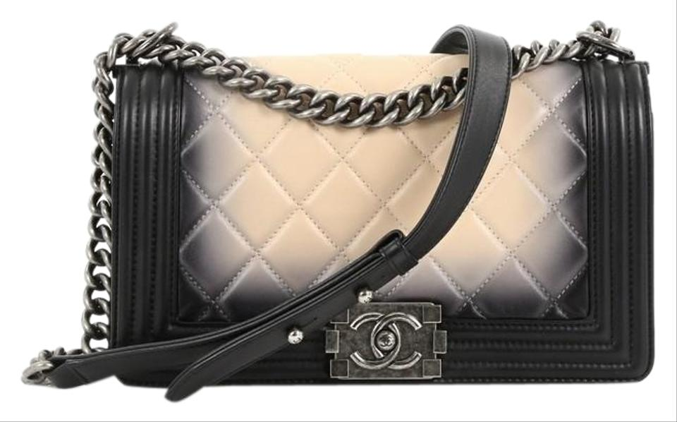 546878cc38a639 Chanel Classic Flap Boy Quilted Ombre Old Medium Black and Nude ...