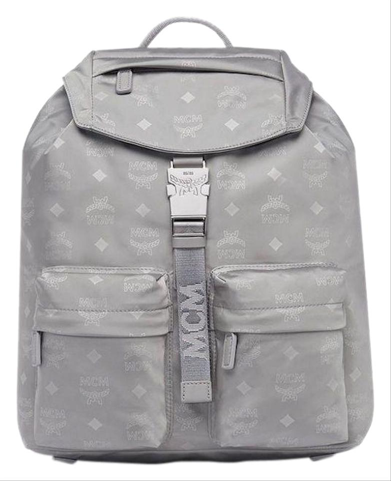 1548bb27051 MCM Womens Small Dieter Monogrammed Silver Shadow Back Gray Nylon ...