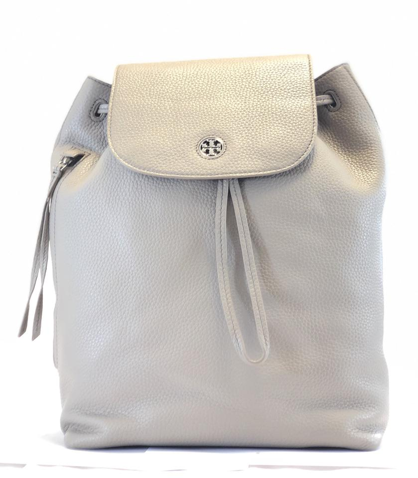 ac54cf8e986e Tory Burch Brody New (43508) Pebbled French Gray Leather Backpack ...