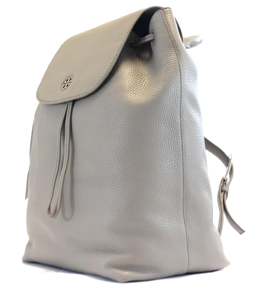 6d3ea2026821 Tory Burch Brody New (43508) Pebbled French Gray Leather Backpack ...