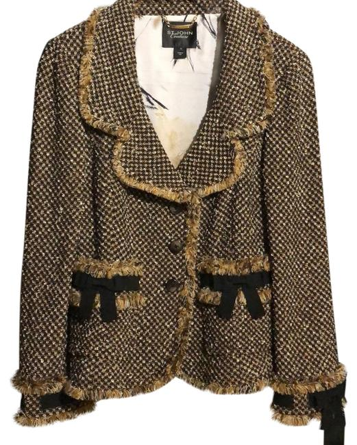 Item - Black Tan Brown Cream Couture Jacket Size 10 (M)