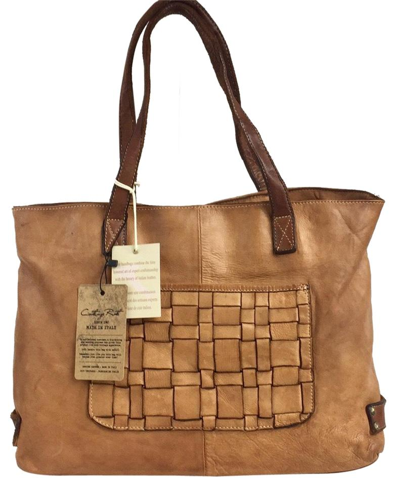 114d379def9f Women s Light Woven Pocket Made In Italy Distressed Brown Leather Tote