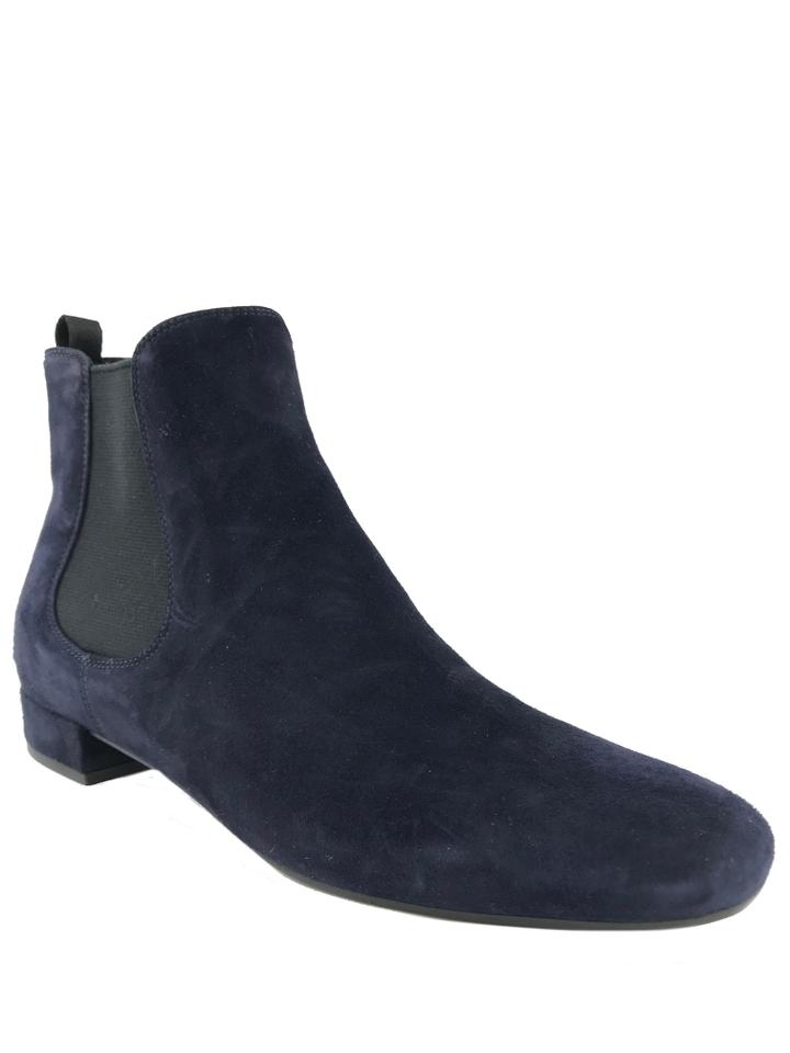570bb3b64dd1 Prada Blue Suede Round Toe Boots Booties Size EU 37.5 (Approx. US ...