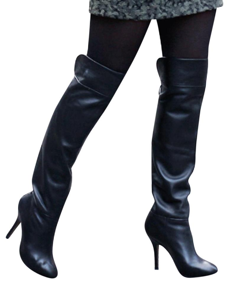 d98c4914476 Zara Black Over The Knee Leather Boots Booties Size US 8 Regular (M ...