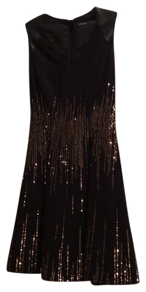 79b40a69 Karen Millen Black with Leather At Shoulders and Bronze Sequins Cocktail  Dress