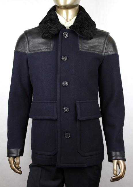 Burberry Navy W Wool Jacket W/Black Leather Details 5 Buttons Eu 50/Us 40 51a117 Groomsman Gift Burberry Navy W Wool Jacket W/Black Leather Details 5 Buttons Eu 50/Us 40 51a117 Groomsman Gift Image 1