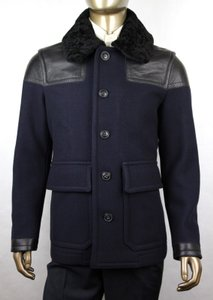 Burberry Navy W Wool Jacket W/Black Leather Details 5 Buttons Eu 52/Us 42 51a117 Groomsman Gift