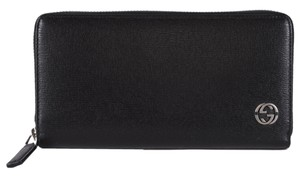 Gucci NEW Gucci 408801 Black Leather GG Plaque Zip Around Wallet Clutch
