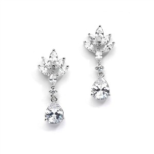 Mariell Cz Teardrop Wedding Earrings With Marquis Fan Top 4266e