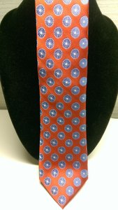 Ike Behar Red Blue White Woven Circle Geometric Burst Imported Silk Tie/Bowtie