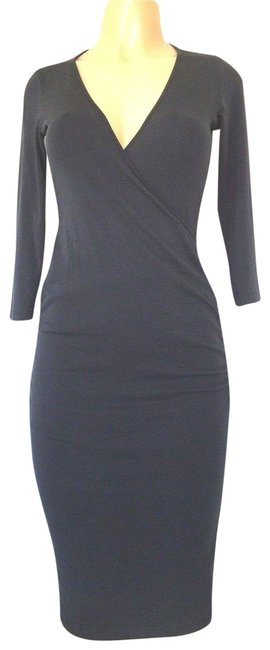 Item - Blue XS Navy Long Sleeve V Neck Surplice 34 Knee Length Ruched Mid-length Short Casual Dress Size 2 (XS)