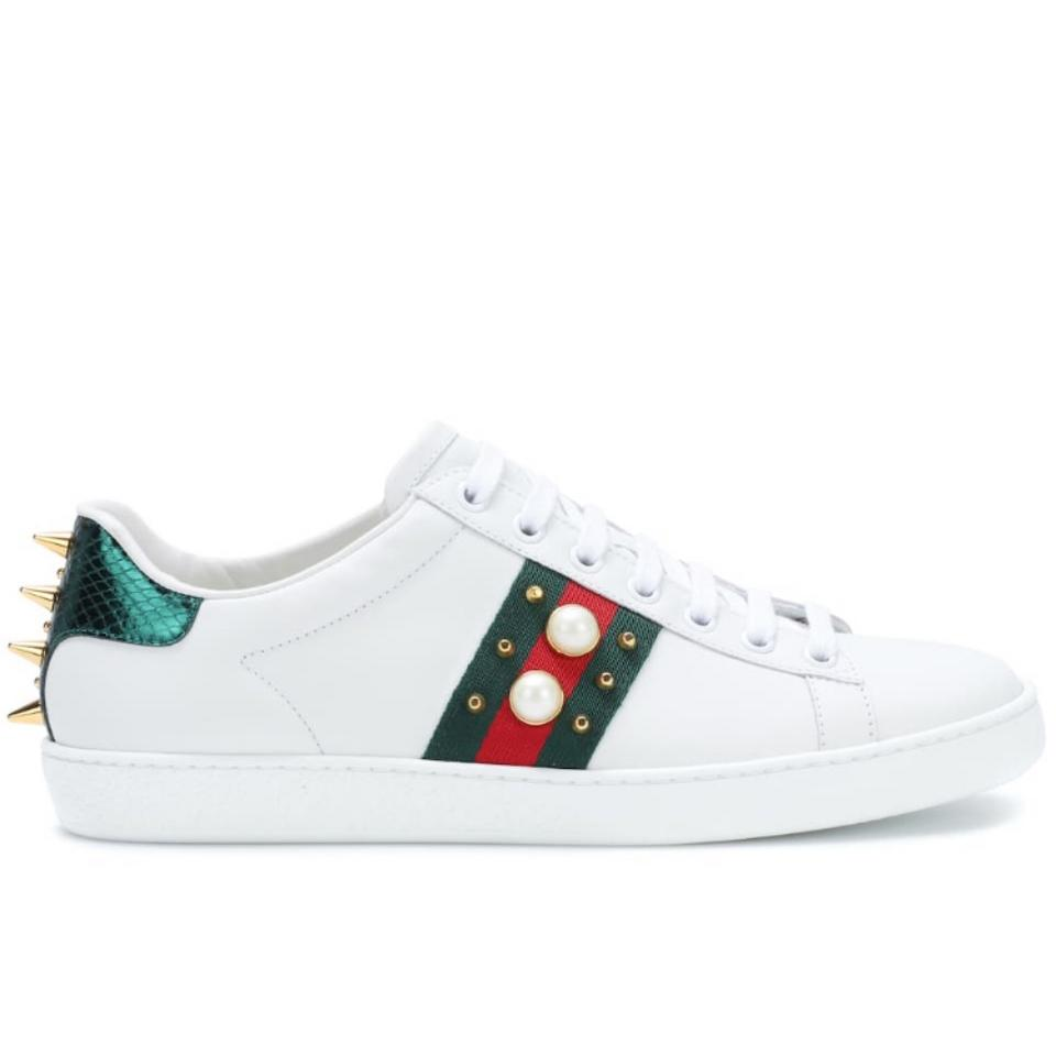 d7998d7ca08 Gucci Ace Pearl Spikes Embellished Leather Sneakers Sneakers. Size  US 6 ...