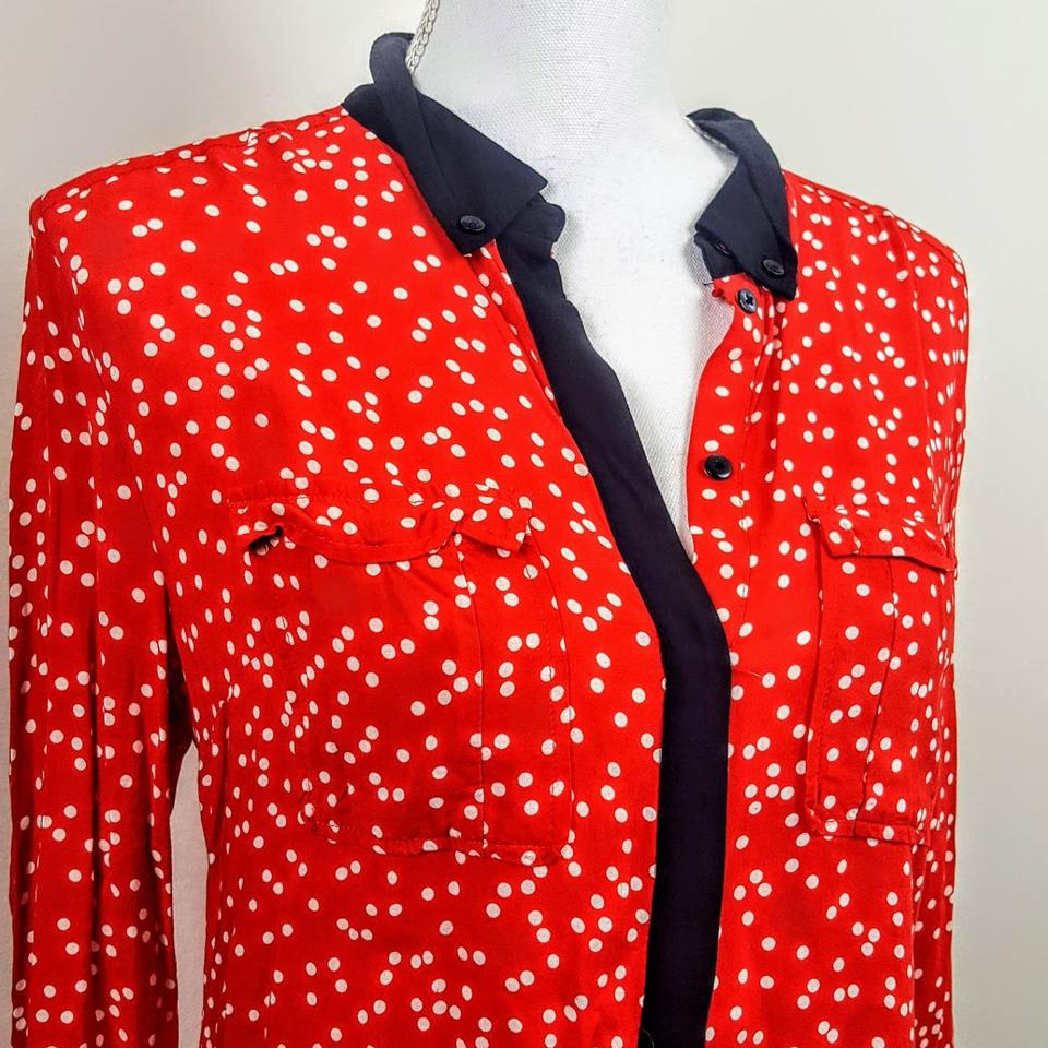 189331e8eacb3 Anthropologie Red Black White Maeve Button-down Top Size 8 (M) - Tradesy