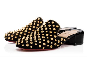 Christian Louboutin Spiked black, gold Mules