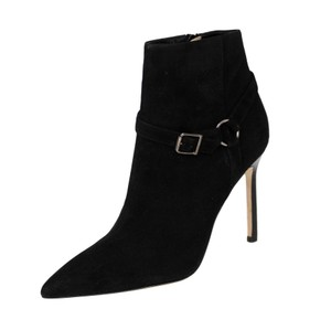 Manolo Blahnik Suede Pointed Toe Stiletto Black Boots