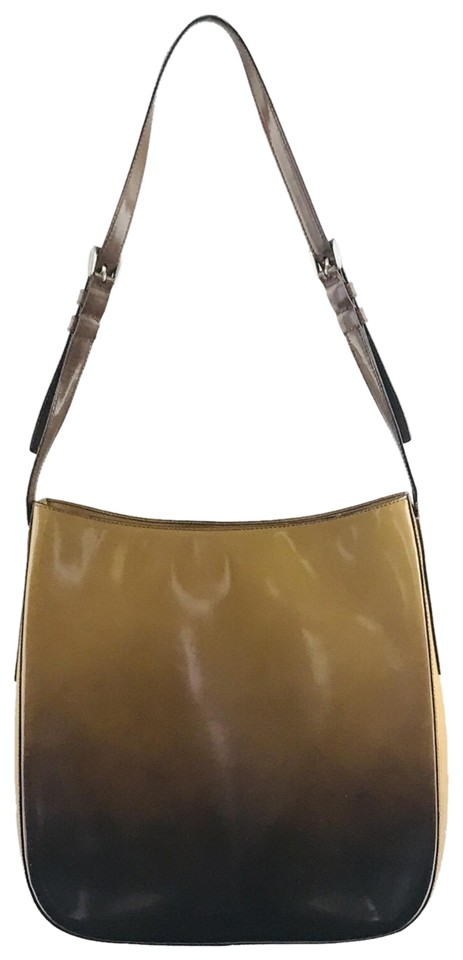 102e3c3ce589 Prada Ombre Yellow Brown Leather Shoulder Bag - Tradesy