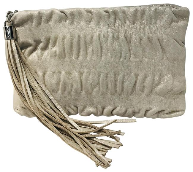 Item - Jenny Bird Ruched Silver Leather Clutch
