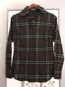 Burberry London Check And Button Down Top Olive, Black, fuschia