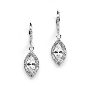 Mariell Marquis Cz Drop Wedding Earrings With Vintage Lever Back Tops 4271e