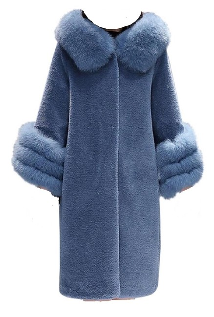 Item - Blue Trimmed Shearling Coat Size 12 (L)