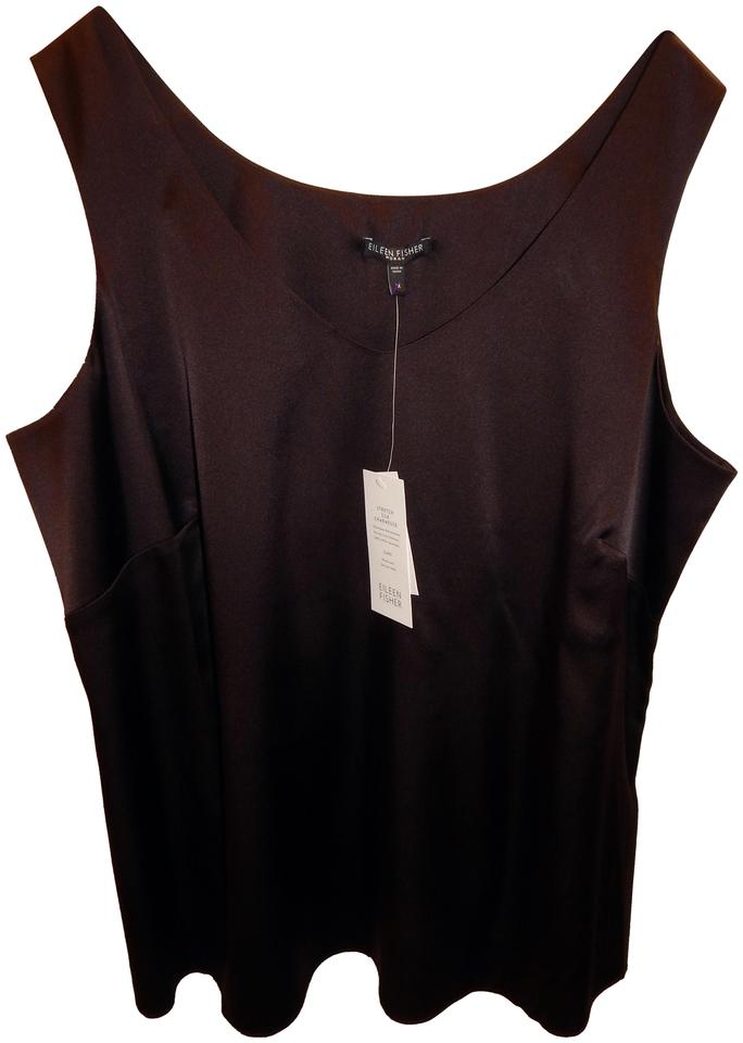 f8ed174e53a93 Eileen Fisher Brown Stretch Silk V-neck Tank Top Cami Size 20 (Plus ...