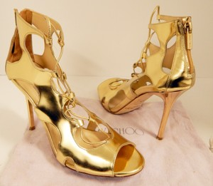 Jimmy Choo Strappy Stiletto Gladiator Leather Heels Gold Sandals