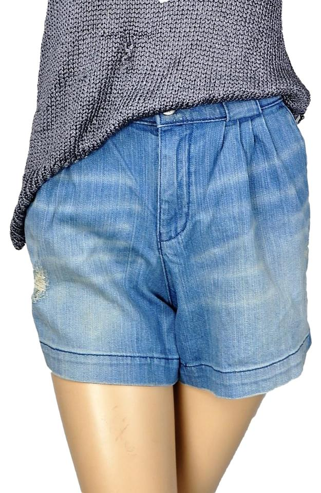 e65d48dd22 BCBGeneration Blue Bcbg Distressed High Waisted Mom Jeans Shorts ...