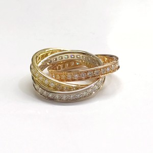 Cartier GORGEOUS!! Cartier Rolling Trinity Diamond Ring 18 Karat White Gold 18 Karat Pink Gold 18 Karat Yellow Gold 96 Round Brilliant Cut Diamonds weighing 1.55 carats total weight Size 4.5 100% Authentic Guaranteed!! Comes with Original Cartier Box and Cartier Outer Box!!