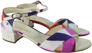 Chanel Cruise Cruise Watercolor Floral White Sandals