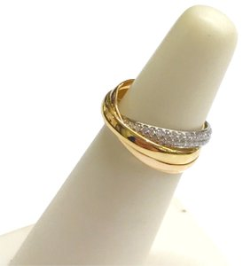 Cartier VINTAGE!! Cartier Trinity Ring 18 Karat and Diamonds 18 Karat Yellow Gold 18 Karat Pink Gold 18 Karat White Gold 144 Round Diamonds weighing 0.99 carats total weight Size: 4 100% Authentic Guaranteed!!! Comes with Original Cartier Box and Outer Box!!!