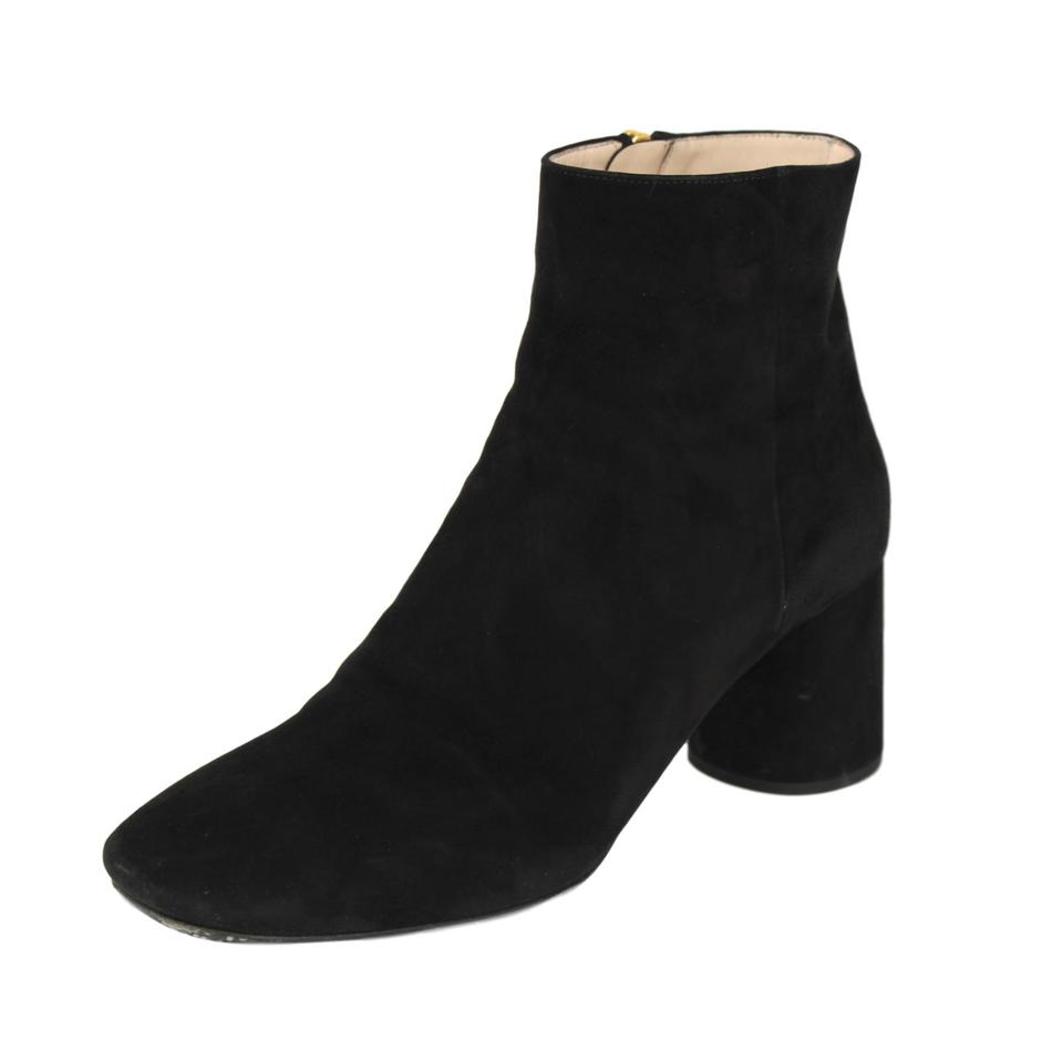 d1402a8ba326 Prada Black Suede Square-toe Round Heel Ankle Boots Booties Size US ...