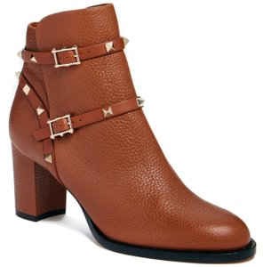 Valentino Made In Italy Luxury Designer Ankle Signature Stud Rockstud Brown (Tabacco) Boots